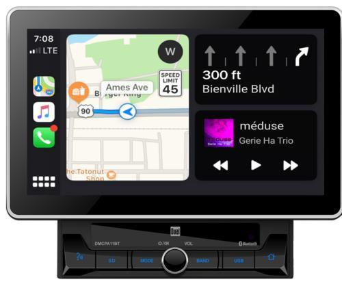 "2 DIN 10.1"" Media Receiver w/ Apple CarPlay & Android Auto Dual DMCPA11BT"