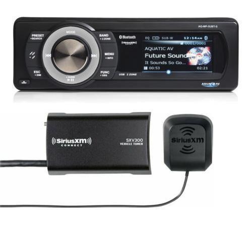 Aquatic AV AQ-MP-5UBT-S Bluetooth 1 Din Head Unit + Sirius XM Service Module