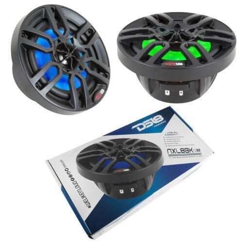 "1 Pair Marine Speakers 8"" Black Power Sport RGB LED DS18 750W NXL8BK"