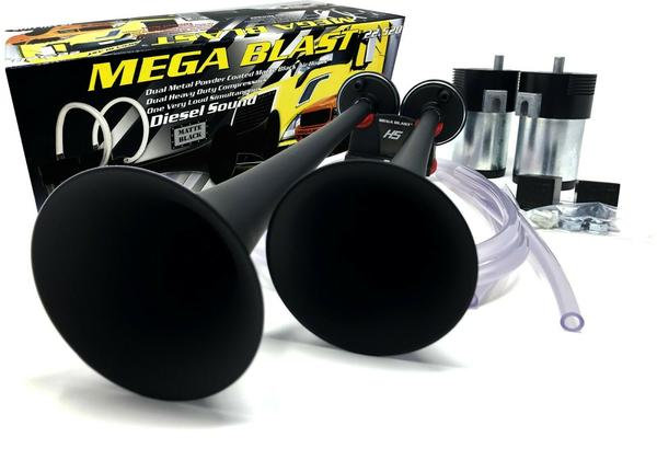 Heavy Duty 12V Black Mega Air Horn for Semi Trucks, Pickups, Cars, Boats 22.522