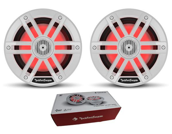 "Pair of Rockford Fosgate 6"" White 600W 4 Ohm Color Optix Marine 2 Way M1-6"