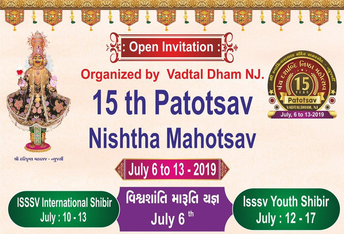 Nishtha Mahotsav - Vadtaldham Somerset - 15th Patotsav