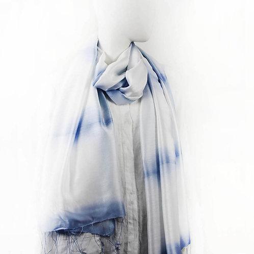 DABBA ICE BLUE CLAMP SHIBORI SILK SCARF