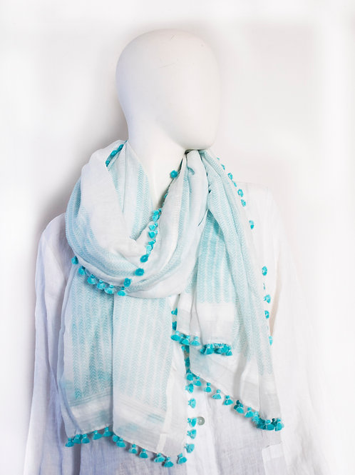 OWNING WHITE TURQUOISE  COTTON SILK BLOCK PRINTED SCARF