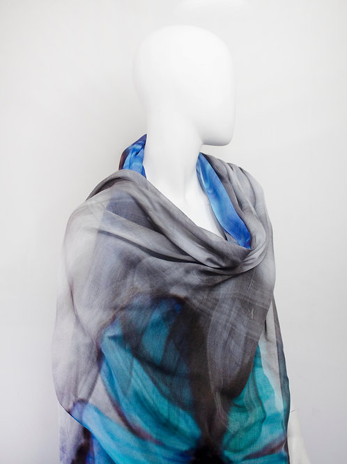 BUTTERFLY  TURQUOISE  MODAL ART PRINT SCARF