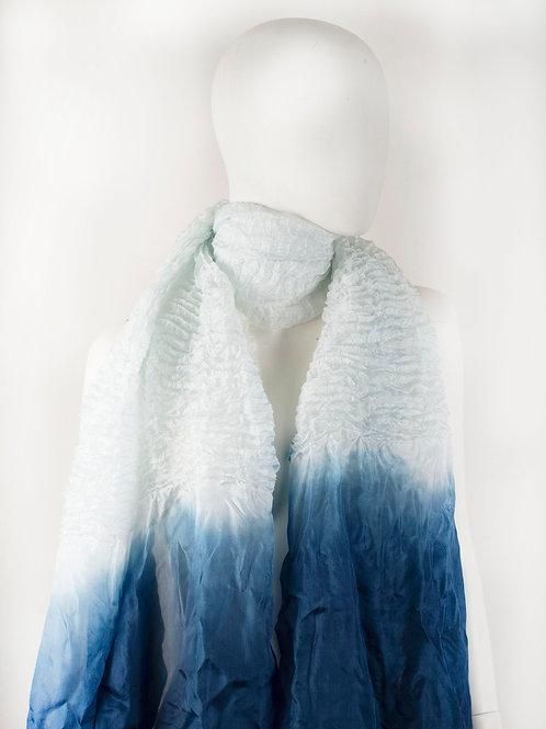 MACHE ICE BLUE SILK SHIBORI SCARF