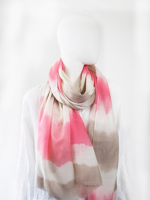 CABANA PINK TAUPE TIE DYE  CASHMERE SCARF