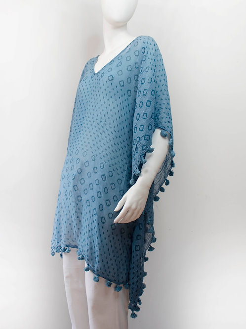 OCEAN BLUE BLOCKPRINTED COTTON TUNIC/COVER UP