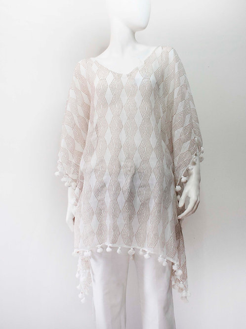 NET NATURAL BLOCKPRINTED COTTON TUNIC / COVERUP