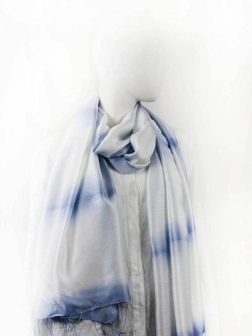 FOLDS  ICE BLUE CLAMP SHIBORI SCARF
