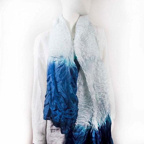 PLEATES ICE BLUE SILK SHIBORI SCARF