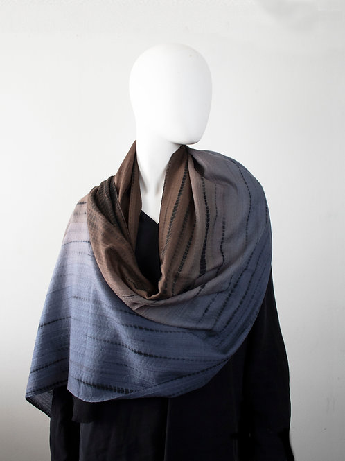 OMBRE GREY/BROWN TIE-DYE CASHMERE WOOL