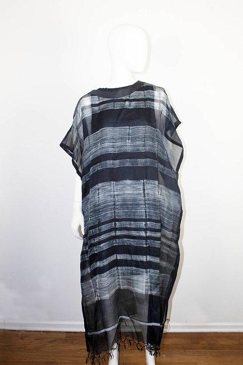 KAFTAN DRESS BAR BLACK COTTON SILK SHIBORI