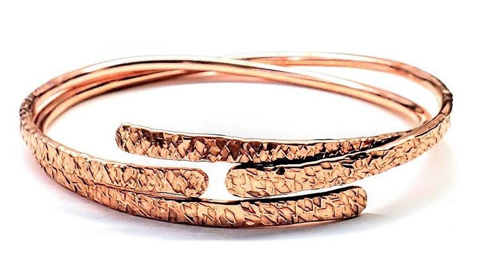 Adjustable Hammered Copper Overlap Bangle