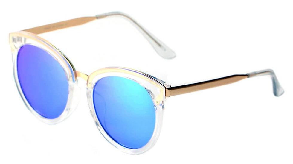 ELWOOD | CD04 - Vintage Oversized Round Mirrored Lens Horned Rim Sunglasses