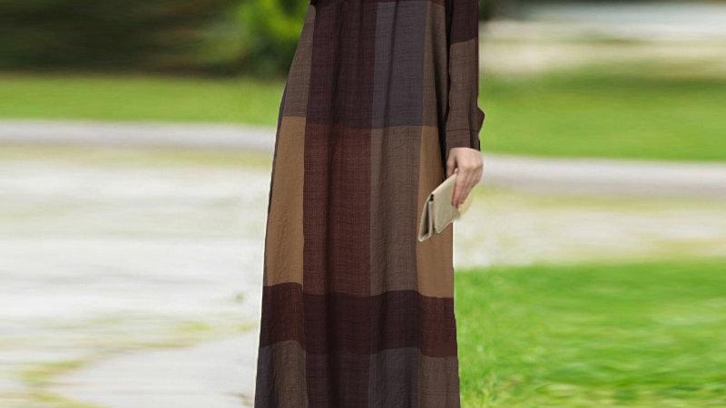 Dubai Kaftan Long Dress ZANZEA Autumn Vintage Plaid