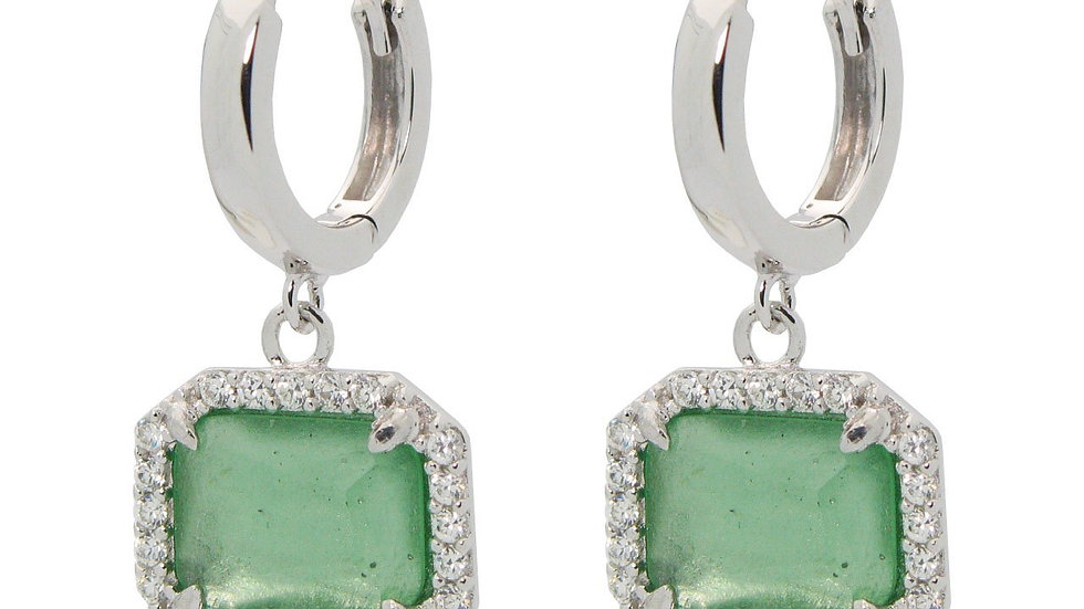 Sparkling Green Glass Huggies