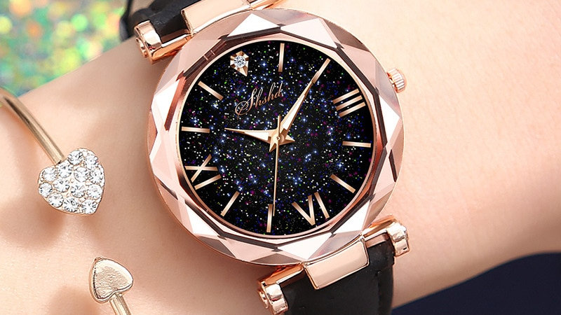 Relogio Feminino Women's  Starry Sky Watches Leather Crystal Rhinestone