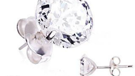 Pair of .925 Sterling Silver Clear Round CZ Stud Earrings