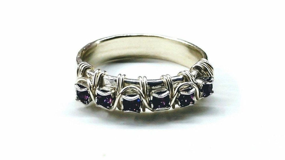 Sterling Silver Hammered Amethyst Rhinestone Bling Ring