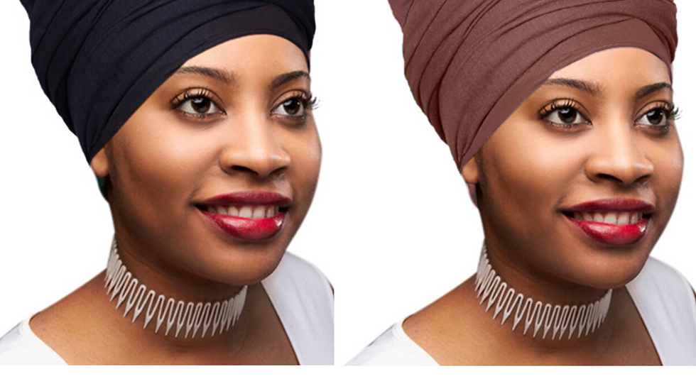 2 Pcs Black and Chocolate Brown Solid Color Head Wrap