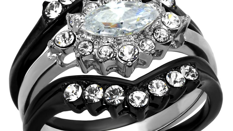 TK2188 Two-Tone IP Black Stainless Steel Ring With AAA Grade CZ in Clear