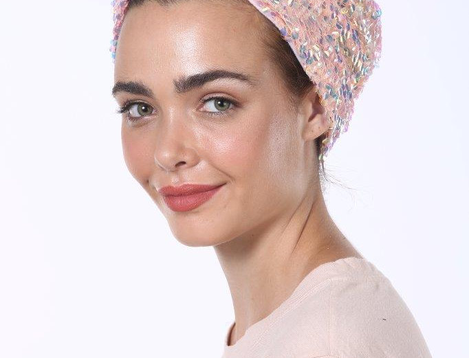 Partial/Full Turban - Sequins Pink