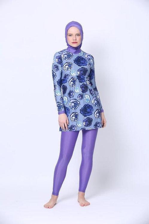 Burkini including Hijab - Blue Roses
