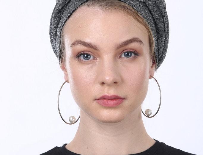 Partial/Full Knot Turban - Grey Glitter Lurex