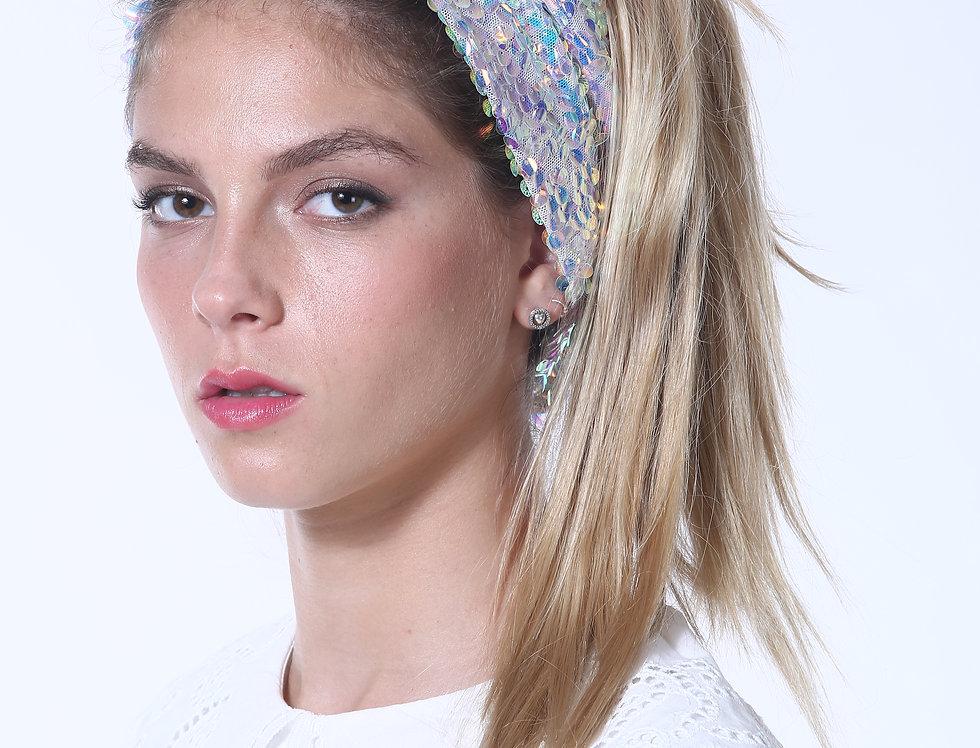 Thin Turban - Sequins White