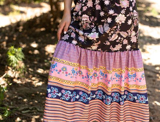 Black flowers skirt