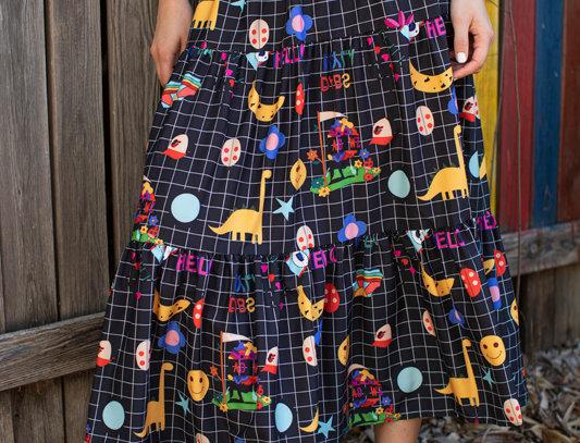 Ruffled printed midi skirt - Black