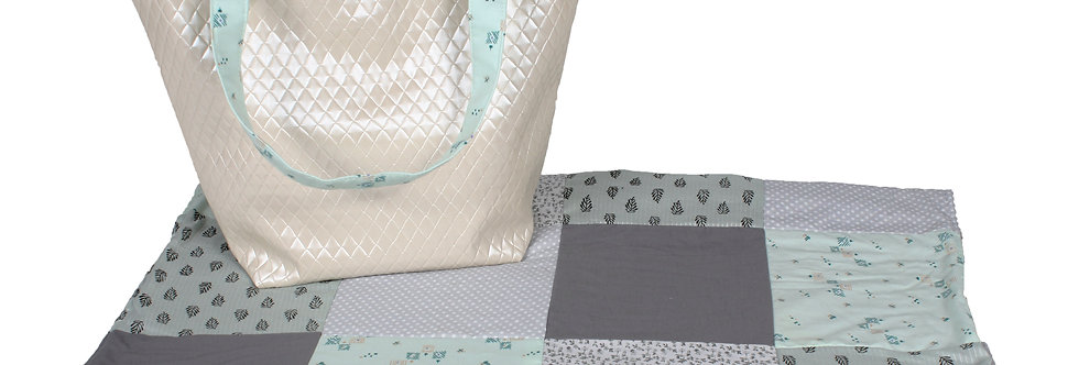 Quilted baby blanket - Grey/Mint