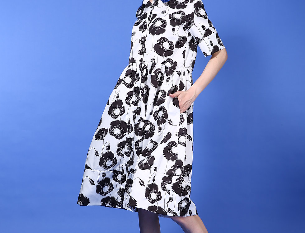 Cecile dress- White poppy flowers