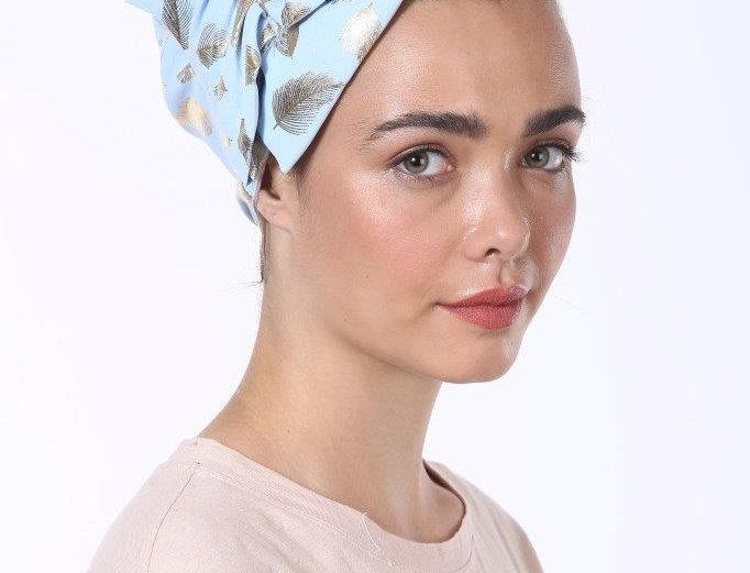 Partial/Full Bow Headband - Silky Light Blue Feathers