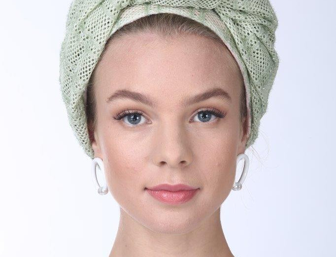 Partial/Full Volumized Turban - Punched Light Green