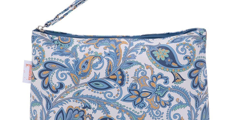 Baby Diaper Pouch - Blue Flowers