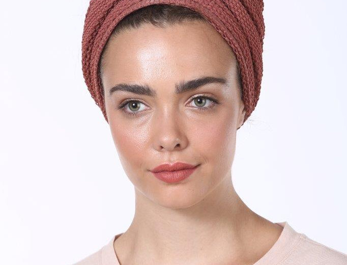 Knot Turban - Fine Knitted Brick Red