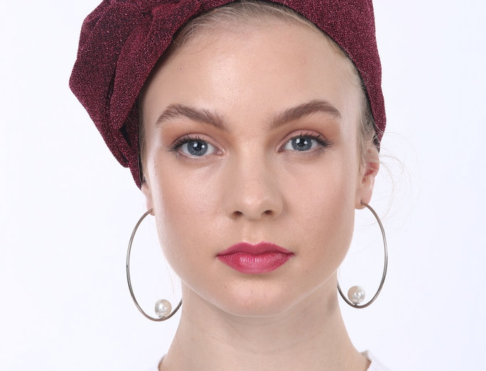 Partial/Full Glitter Lurex Bow Headband - Bordeaux