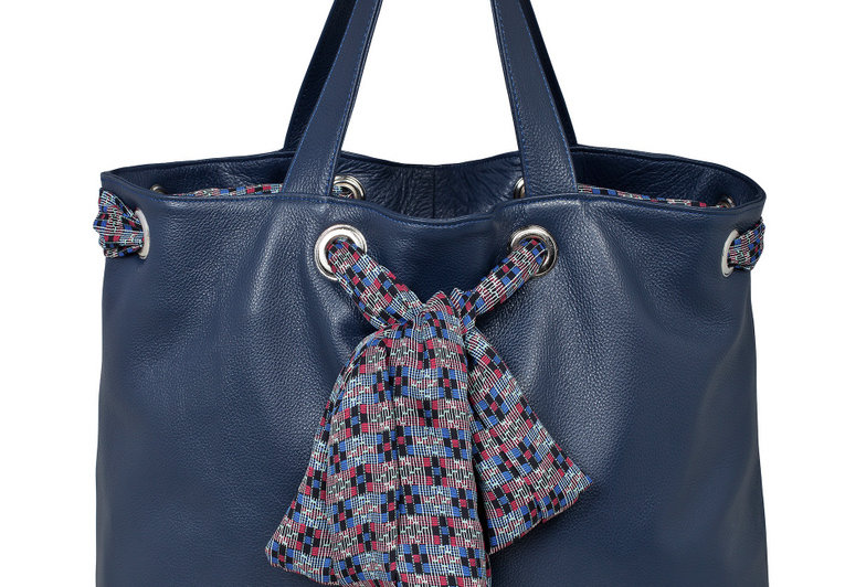Dark blue leather bag
