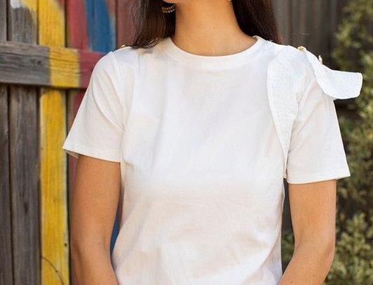 One sleeve ruffle T-shirt - White
