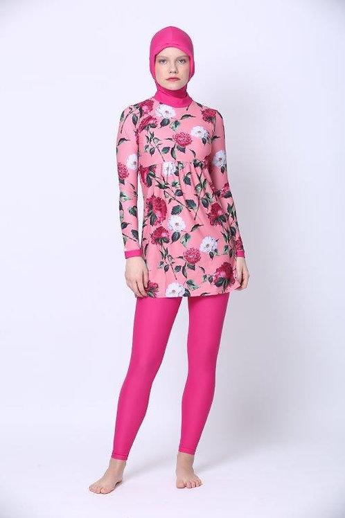 Burkini including Hijab - Pink Floral