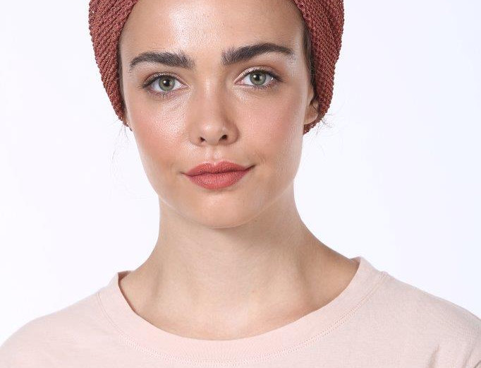 Partial/Full Turban - Fine Knitted Brick Red