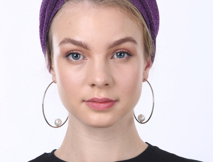 Partial/Full Knot Glitter Lurex Turban - Purple