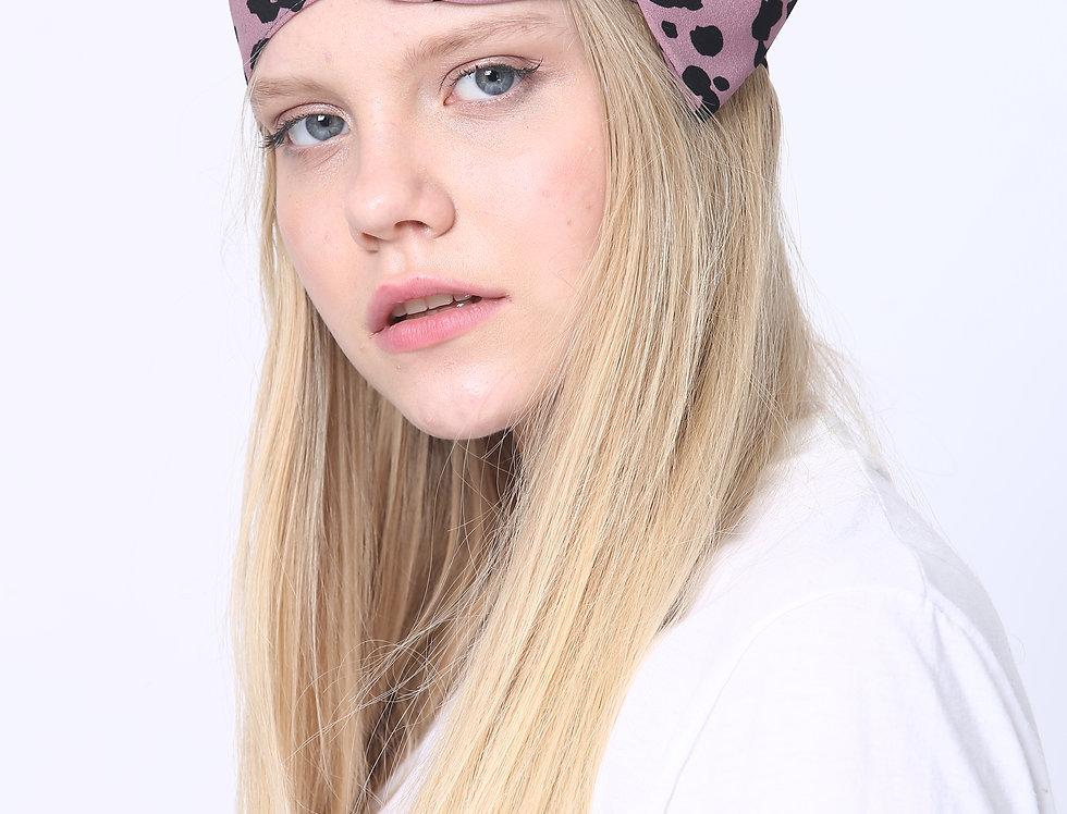 Thin Bow Headband - Leopard Purple