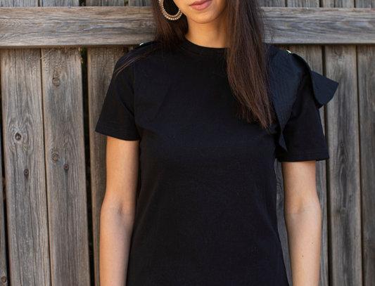 One sleeve ruffle T-shirt - Black
