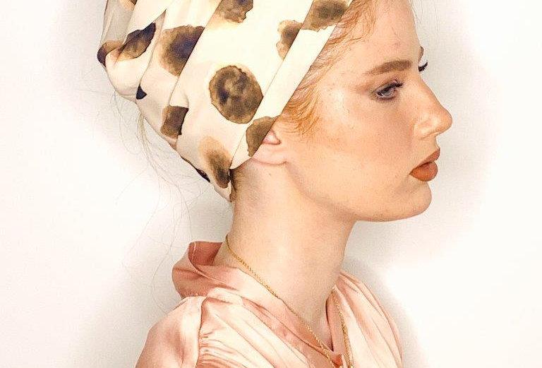 Partial/Full Printed Turban - Nude Brown