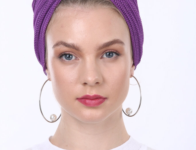 Partial/Full Knitted Turban - Purple