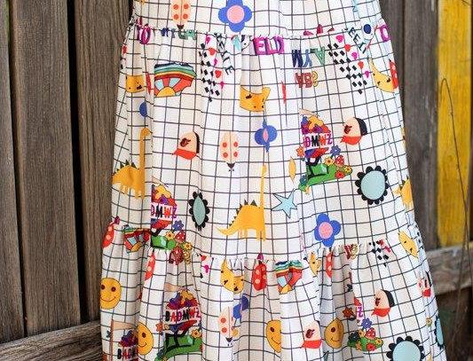 Ruffled printed midi skirt - White