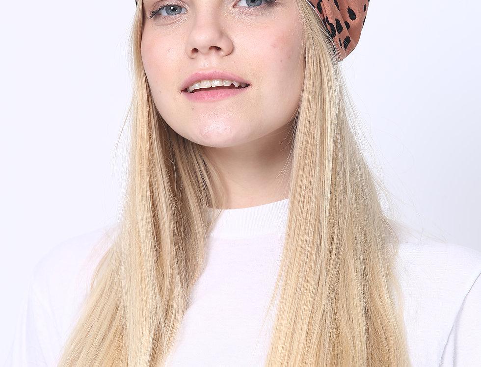 Thin Bow Headband - Leopard Brown